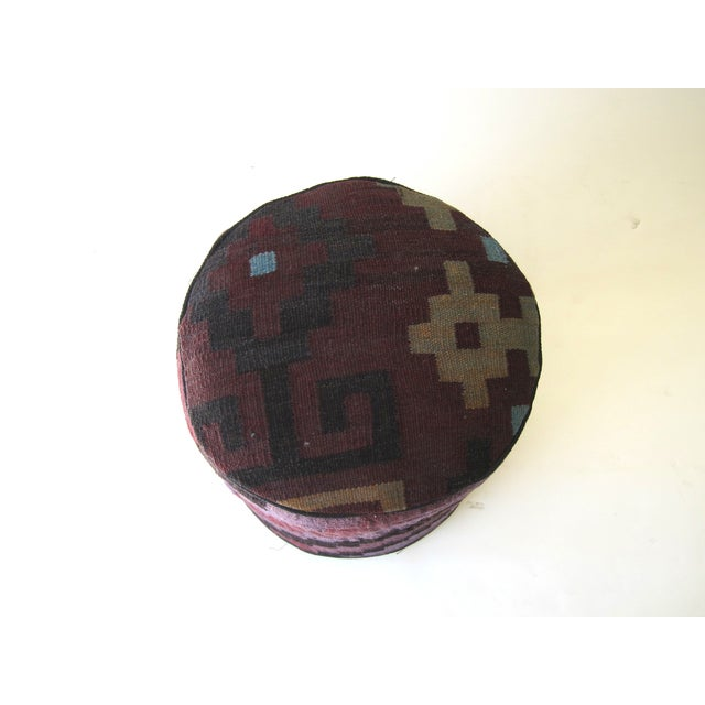 Image of Vintage Purple/Black Turkish Kilim Stool