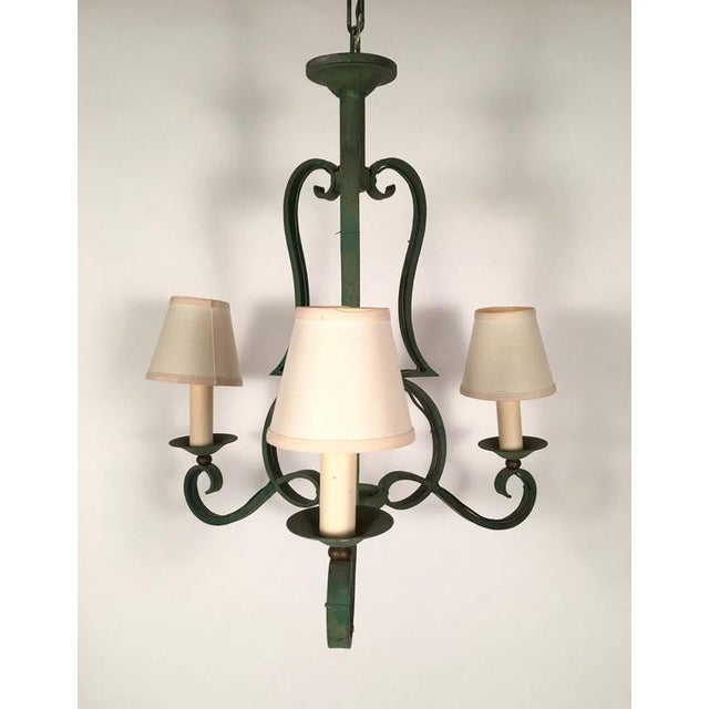 French Green Metal Chandelier in the Manner of Gilbert Poillerat - Image 1 of 4