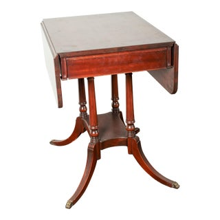 Antique Mahogany Drop Leaf Imperial Furniture Side Table