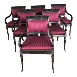 Black Regency Style Dining Chairs - Set of 6