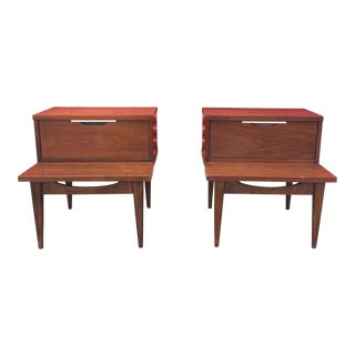 Kent Coffey Tableau Series Walnut Nightstands - A Pair