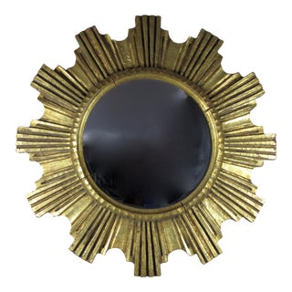 Mid-Century Italian Giltwood Sunburst Wall Mirror