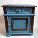 Image of Blue Painted Mid-Century Nightstand
