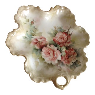 Hand Painted Scalloped Ceramic Rose Tray