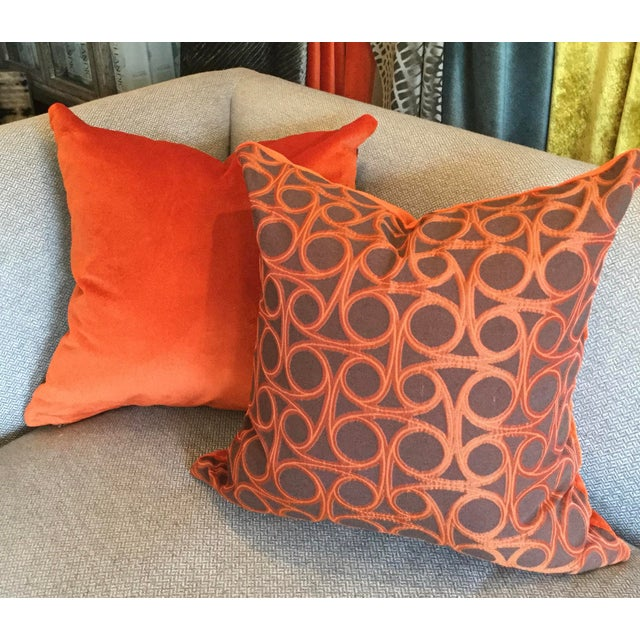 Kravet Orange Circle Jacquard/Pollack Orange Silk Velvet Pillows - a Pair - Image 5 of 8