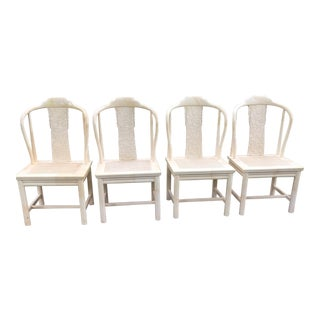 Henredon Chinese Goatskin Cane Carved Chairs - Set of 4