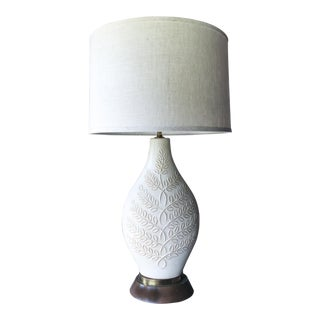 Mid Century Organic Leaf Pattern Pottery Lamp