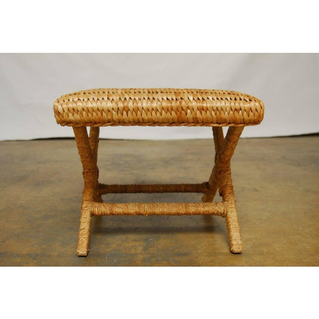 Woven Seagrass X Base Benches Pair Chairish