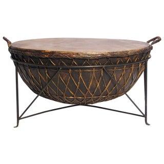 Metal & Rawhide Kettle Drum Table