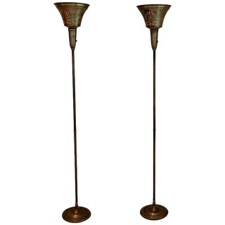 Stencilled Torchère Floor Lamps - A Pair
