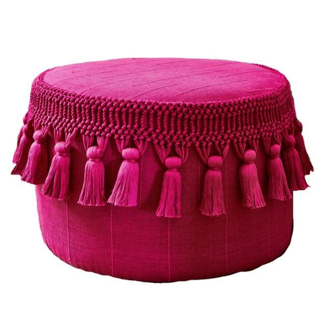 Image of Pink Boho Chic Tassel Pouf