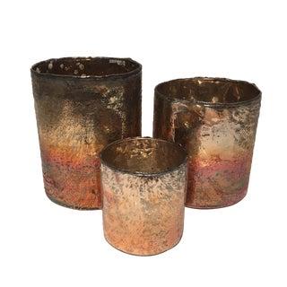 Decorative Glass Votive Candle Holders - Set of 3