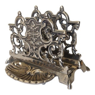 Silver Plate Letter Holder with Gryphons
