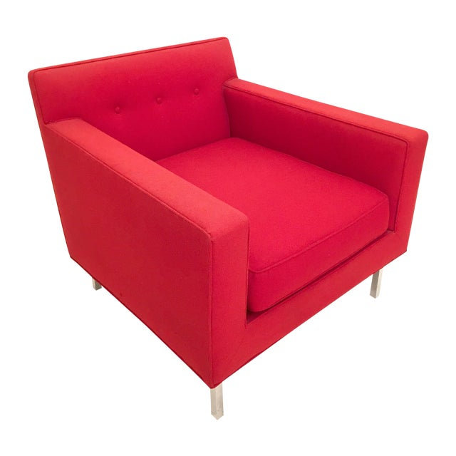 Image of Upholstered Red Dunbar Arm Chair