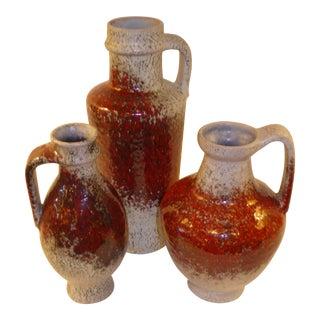 1960s Modern German Pottery Group Friedegart Glatzle Oxblood Glaze Karlsruhe