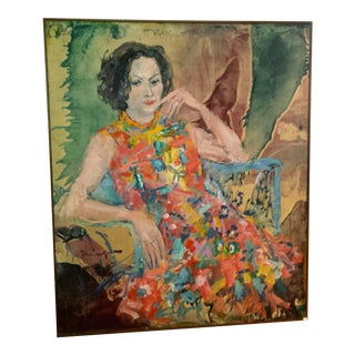 "1968 ""Summer Breeze"" Woman Portrait Painting"