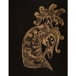 Sascha Brastoff Modernist Gold Foil Fantasy Horse Print