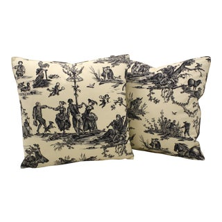 Vintage Pastoral Scene Toile Pillows - A Pair