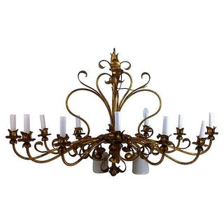 Wrought Iron Gilt Chandelier