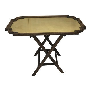 Brass & Oak Bar Tray Table