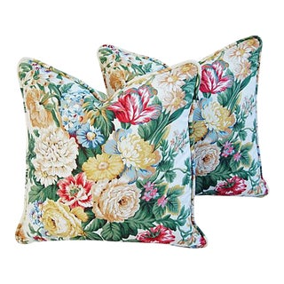 "19"" Custom Tailored Schumacher Floral Bouquet Feather/Down Pillows - Pair"