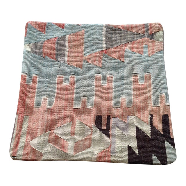 Image of Vintage Pink & Blue Kilim Pillow
