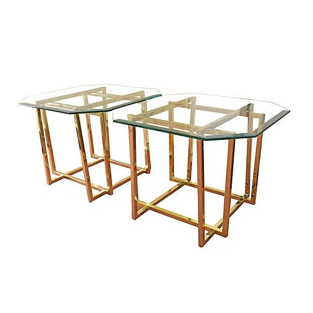 Cardin-Style Brass Side Tables- A Pair - Image 3 of 3