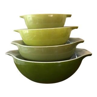 Vintage Green Pyrex Mixing Bowls - Set of 4