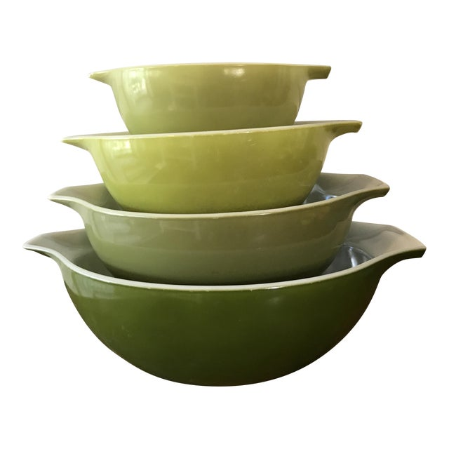 Vintage Green Pyrex Mixing Bowls Set Of 4 Chairish