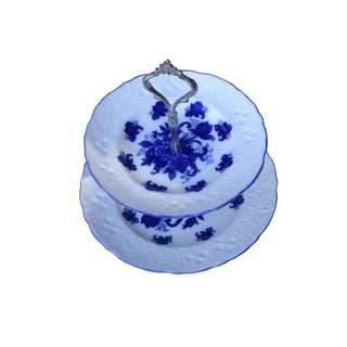 2 Tier Blue and White Serving Tray
