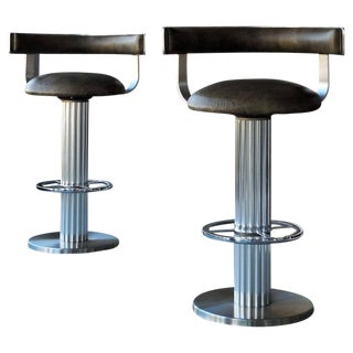 A Pair of Design For Leisure Swivel Leather Bar Stools