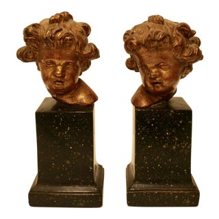Rare Vintage Borghese Putti Cherub Gilt Bookends - A Pair
