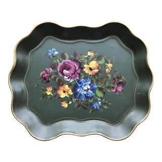 Green Floral Tole Tray