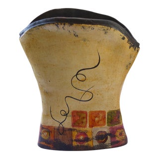 Mid-Century Spanish Handmade & Painted Clay Vase