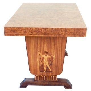 Swedish Art Deco Library Table With Neoclassical Inlay