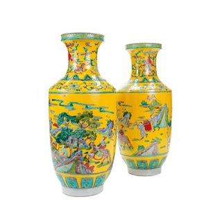 Chinese Hand Painted Yellow Vases - A Pair