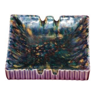 Lavender Drip Glaze Mid-Century Ceramic Ashtray