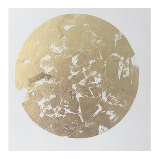 """""""Gilded Gold Leaf Circle"""" Acrylic on Canvas Painting"""