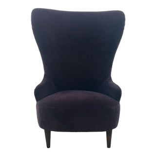 Butterfly Wingback Chair in Black Velvet