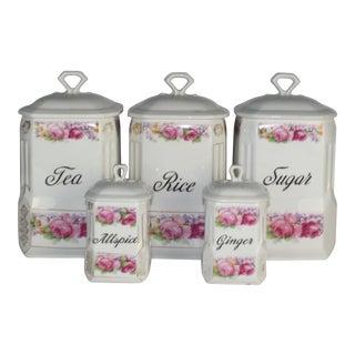 Vintage Floral Porcelain Canisters - Set of 5