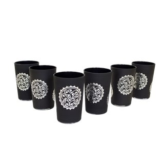 Silver & Black Luxury Massira Tea Glasses - Set of 6