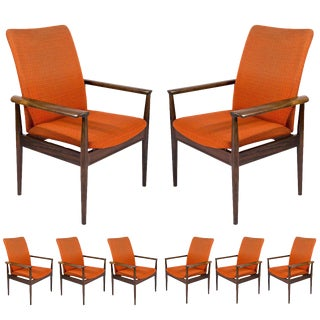 "Set of Eight Rosewood Finn Juhl ""Diplomat"" Armchairs"