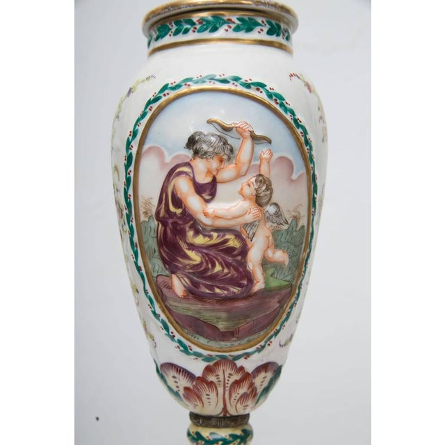 19th Century Pair of Italian Porcelain Capodimonte Vases as Table Lamps - Image 7 of 8