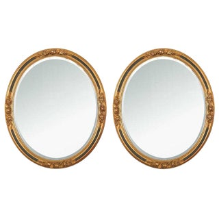 Antique Oval Wall Mirrors - A Pair