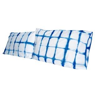 Shibori Standard  Indigo/White Pillowcases - Pair