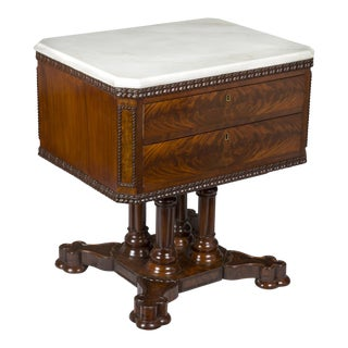 Classical Gothic Mahogany & Marble Center Table