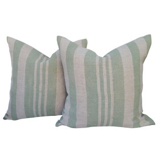 Sage Green Stripe Grain Sack Pillows - A Pair