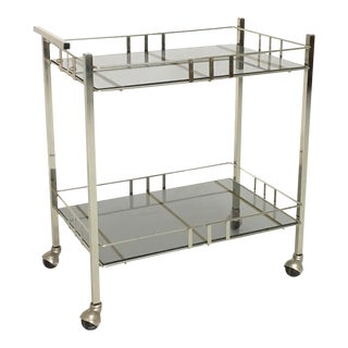 Mid-Century Chrome & Smoke Glass Bar Cart