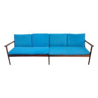 Ole Wanscher Mid-Century Aqua Sofa 4 Seats