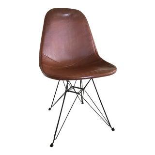 Vintage Eames Eiffel Base Leather Armless Chair